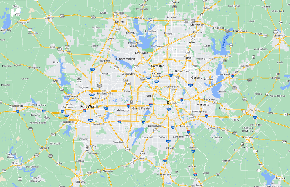 large area map of Dallas-Fort Worth showing cities